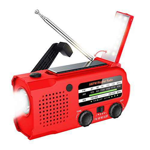 Lukasa 5000 mAh Emergency Hand Crank Portable AM/FM/NOAA Weather Radio, Rechargeable Solar Radio with LED Flashlight, Phone Charger, Reading Lamp,SOS Alarm(Red)