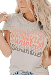 INFITTY Womens Sunshine Letters Print T Shirts Short Sleeve Shirts Cute Graphic Tees Casual Summer Funny Loose Tops Light Gray X-Large