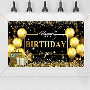 Happy Birthday Backdrop Banner with Gold Balloons Gift Sign for Birthday Anniversary Party Decorations Photo Booth Background Banner Party Supplies (style2)
