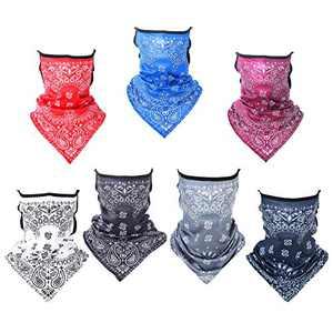 Huinsh 7 Pcs Unisex Face Mask Neck Gaiter Sun UV Protection Face Bandana Mask Reusable Balaclava Bandana Scarf(Cashew Nut Design