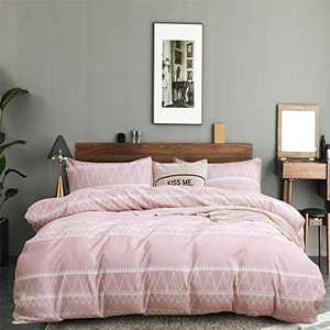 Omelas Girls Pink Bedding Duvet Cover Queen Boho Aztec Stripe Triangle Textured Bedding Set Breathable Microfiber Light Pink Geometric Quilt Covers with Zipper Ties, No Comforter