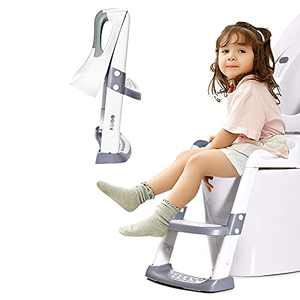 Potty Training Seat Toddler Toilet Seat with Adjustable Step Stools Ladder for Boys and Girls Non-Slip Children Potty Chair with Handles Portable Training Toilet Seat White and Gray