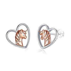 Unicorn Stud Earrings for Girls Women Hypoallergenic 925 Sterling Silver Cute Animal Heart Earrings Studs Unicorn Gifts Jewelry.