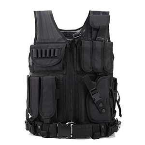 GNNFIC Tactical Vest, Outdoor Breathable Training Mollle Vest with Holster Adjustable for Adults for Combat Training and Military Fans,Hunting (Black)