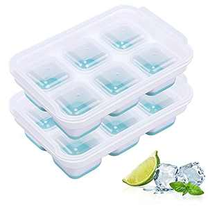 Ice Cube Trays 2 Pack, Morfone Silicone Ice Trays with Removable Lid Large Square Ice Molds for Cocktail, Whiskey, Soda, Baby Food, BPA Free and LFGB Certified