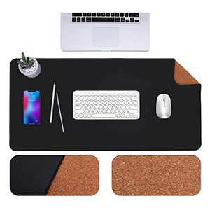 """GRANNY SAYS Desk Pad with Sewing Edge, Cork & PU Leather Desk Mat, Dual-Sided Waterproof Desk Blotter Protector, Office Desk Mat for Keyboard and Mouse, 31.5"""" x 15.7"""", Black/Cork"""