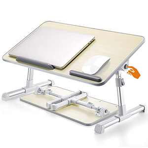 CareUAll Laptop Bed Tray Desk, Portable Bed Tray Table, with T-Shaped Legs & Adjustable Height & Desktop, Foldable Lap Desk for Working Reading Writing Eating, Fits for 17'' Laptop or Smaller