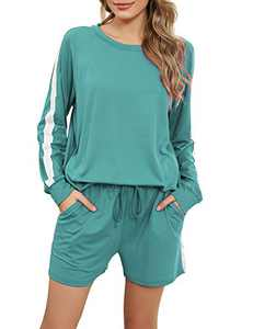 Irevial Lounge Sets for Women Shorts, Juniors 2 Piece Pajamas Long Sleeve Tops and Shorts with Pocket Elastic Waist Striped Summer Sleepwear Mint Green M