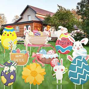 Jetec 10 Pieces Easter Yard Signs Outdoor Lawn Decorations Easter Lawn Yard Decorations Easter Decorations with Easter Eggs, Bunny and Chick for Easter Party Supplies Outdoor Props