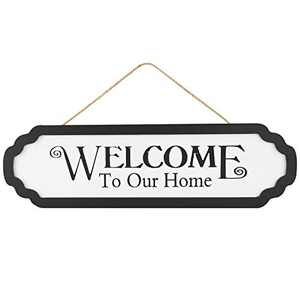 """Welcome Sign - Welcome to Our Home Sign, 4.6"""" x 15.7"""", Hanging Rustic Wood Sign, Welcome Sign for Front Door Decoration Black and White, Ideal for Home or Farmhouse Style Decor"""