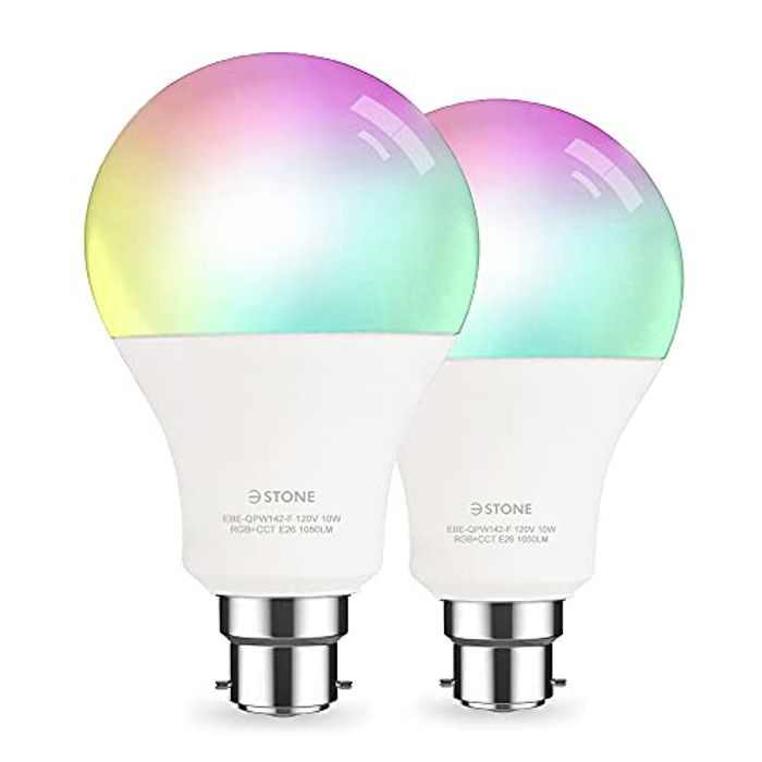 Smart RGB LED Light Bulb A21 by 3Stone, 2700K-6500K Dimmable White, 10W 1050 Lm (100W Equivalent) B22 Bayonet, 2.4G(Not 5G)WiFi App Voice Controlled , Works Perfect with Alexa, Google Assistant