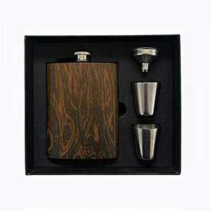 SoBoho 8oz Stainless Steel Walnut Flask - Box Includes Flask, Funnel, and Shot Glasses - Perfect for Groomsmen Gifts, Groomsmen Proposal Box, Best Man Gifts for Wedding - Groomsmen Flask Set