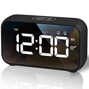 HOMVILLA Alarm Clock, LED Digital Bedside Clock with 40 Optional Ringtones Nap Time Setting, Week Display, 8 Adjustable Alarm Volume, Snooze 12/24 Hours, Dual Alarm for Bedroom, Office Living Room
