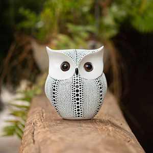 "Owl Figurine 5.5"" Height, Artconal Bird Artwork,Abstract Echo Design,Shelf Sitters for Home Decor Accent(White)"