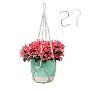 35 Inch Macrame Plant Hanger, Indoor Outdoor Hanging Flower Planter with 2 Hooks, Handmade Plant Holder with Wood Beads Decorative for Boho Home Decor -White,4 Legs (No Tassels)