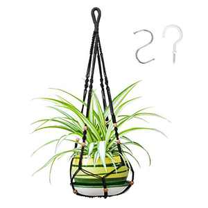 35 Inch Macrame Plant Hanger, Indoor Outdoor Hanging Flower Planter with 2 Hooks, Handmade Plant Holder with Wood Beads Decorative for Boho Home Decor -Black,4 Legs (No Tassels)