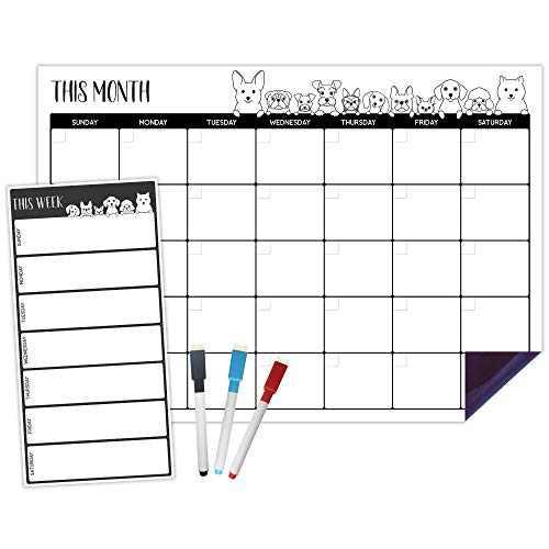 Horizontal Magnetic Calendar for Refrigerator - Cute Dog Design   Set of 2 Magnetic Dry Erase Board: Monthly Magnetic Fridge Calendar 12 x 17 Inch, Weekly Fridge Menu Planner 5 x 10 Inch