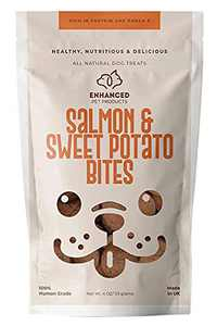 Enhanced Pet Products - Salmon and Sweet Potato Premium Dog Treats - Naturally Smoked - Human Grade - Rich in Protein and Omega-3 - No Grains - No Additives - Non-GMO