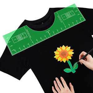 T-ShirtAlignmentTool,T-ShirtAlignmentRuler,T-ShirtRulerGuide,T-ShirtRulerCenteringToolwithSizeChartBuiltforApplyingVinylandDIYDesignTemplate, 18 x 5 Inches (2 Pieces)