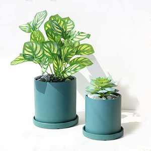 KAXYEW Ceramic Flower Plants Pots, 5.3 Inch + 4.1 Inch Cylinder Planter Container with Drainage Hole and Trays for All House Plants Flowers Succulent Indoor - 2PCS Matte Green