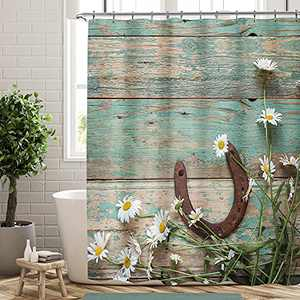 KOMLLEX Rustic Wood Shower Curtain Set for Bathroom 60Wx72H Inches Flowers Teal Wooden Plank Farmhouse Horseshoe and Daisies Nature Spring Fabric Waterproof Polyester with 12 Pack Plastic Hooks