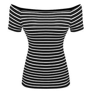 Women's Short Sleeve Vogue Fitted Off Shoulder Shirt Modal Top T-Shirt (Small, Big Stripe)