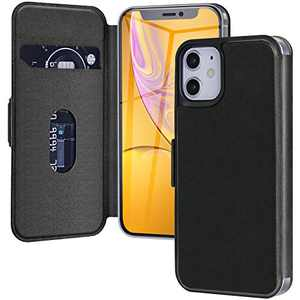 Case for iPhone 12/12 Pro Case (6.1inch), Wireless Charger Magnetic Leather Phone Case with Card Holder Wallet RFID Blocking Flip Folio Shock-Absorbing Cell Phone Case for iPhone 12/12 Pro-Black
