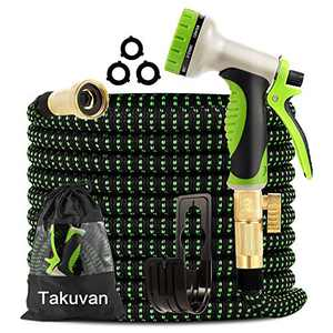 "Takuvan Expandable Garden Hose 50ft - Water Hose with 9-Way Spray Nozzle - Durable 4-Layers Latex with 3/4"" Solid Brass Fitting - Strength 3750D Flexible Lightweight No Kink Yard Hose Pipe Set"