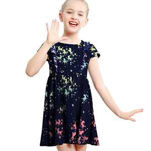 V.&GRIN Girls Long Sleeve Dress, Spring Floral Soft Twirly Stretchy Casual Dress for Girls 2-8 Years (Navy Unicorn 3T)