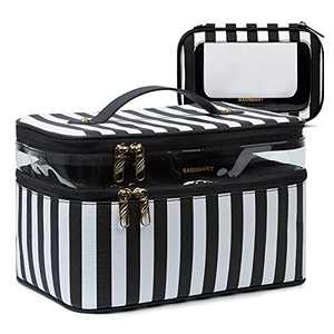 Travel Makeup Bag,BAGSMART Roomy Cosmetic Case with a Portable Clear Toiletry Bag,Portable Artist Storage Bag with Adjustable Dividers,Double Layer Makeup Organizer,Leather,Good for Cosmetics Makeup Brushes Toiletry