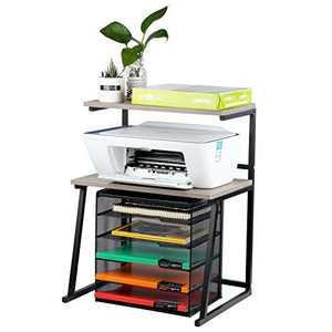 Printer Stand - Flower Shelf -Kitchen Shelf-Desktop Space OrganizerShelf with Anti - Space Organizer , Book Shelf, Double Tier Tray with Hardware (Double Layer)