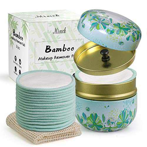 MISICH 16 Packs Reusable Bamboo Cotton Makeup Remover Pads,Organic Cotton Round,Pretty Metal Box,Washable Laundry Bag,Best Gift,Eco-Friendly& Harmless