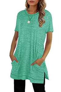 Yidarton Summer Tops Womens Short Sleeve T Shirt Side Split Casual Loose Tunic Top with Pockets Green S