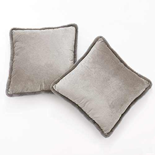 NICETOWN Velvet Pillow Covers for Couch, Square Soft Throw Pillow Shames with Decorative Plush Short Wool Fringe Pillowcases 18 x 18 inch for Sofa/Car/Home Decor, Set of 2, Silver Grey