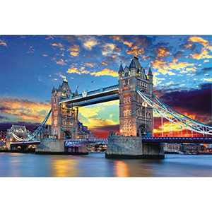 """Puzzles for Adults 1000 Piece - Tower Bridge 1000 Piece Jigsaw Puzzle for Adults Kids Large Puzzle Game Decompression Toys Challenge Puzzle Gift Home Decor(27.5"""" x 19.5"""")"""