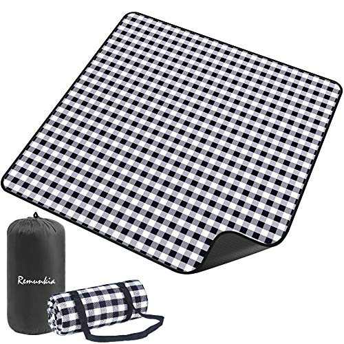 "Remunkia Picnic Blanket Outdoor Blankets 79""x 79"" Extra Large 3 Layers Waterproof Picnic Mat Oversized & Portable for Beach, Park, Camping, Travel, Hiking - Black & White"