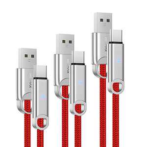 USB Type C Cable 3A Fast Charging, HEEMAX 3-Pack [10ft+6ft+3.3ft] USB A to USB-C Fast Charger Nylon Braided Cord Compatible with Samsung Galaxy Note 10 9 8 S20 S10 S9 S8 Plus,LG V50 V40 (Red)