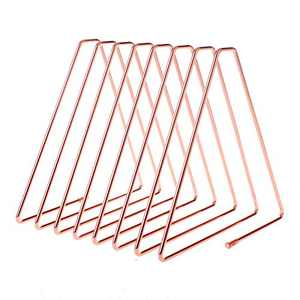 BHONGVV Magazine Holder and Triangle File Folder Racks Record Holder Desktop Metal Wire Vinyl Record Organizer for Office Home (Rose Gold)