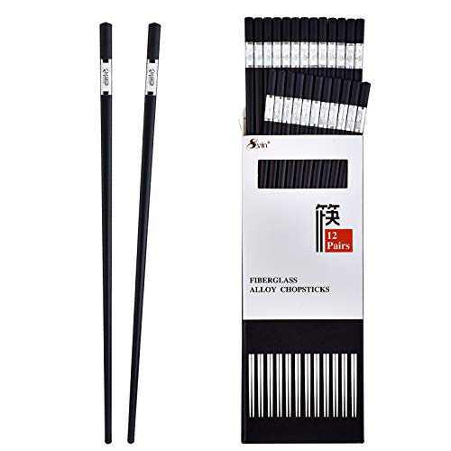 SVIN Chop Sticks, 12 Pairs Chopsticks Reusable, Dishwasher Safe, Japanese Chopsticks, Non-Slip, 9 1/2 inches Fiberglass, Durable Chopsticks - Silver