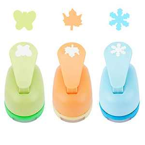 3pcs Craft Hole Puncher Shapes, 1 Inch Lever Action Large Paper Punch Set for Nail Art Design, DIY Scrapbooking, Cards Decoration, Handmade Album, Office Class Supplies, Maple Leaf Snowflake Butterfly