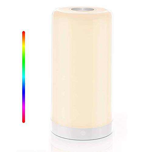 SIMEEGO Table Lamp , with RGB Color Mode, Touch-Sensitive Dimmable Warm White Night Light, LED Touch Control, with Three-Layer Lampshade, Portable Night Lamp for Living Room and Bedroom