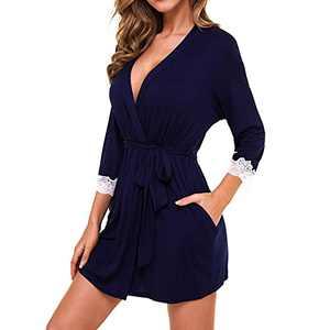 Lu's Chic Women's Short Robe Kimono Bathrobes Lightweight Thin Sleepwear Lace Trim with Pockets 3/4 Sleeve Self Tie Modal Navy X-Large