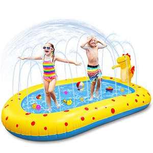 Kakashi Inflatable Swimming Kiddie Pool, Dinosaur Sprinkler Pool Fountain Water Toys, Outdoor Summer Splash Pad Play Park for Toddlers, Kids