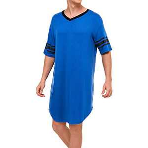 Lu's Chic Men's V Neck Nightgown Short Sleeve Nightshirt Soft Sleepshirt Striped Pajama Top Sleep Shirt Night Summer Gown Sleepwear Knee Length Blue Small