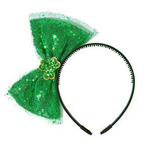 JiaDuo St Patricks Day Headband for Women Girls Green Sequined Big Bow Headwear Party Accessories Green Shamrock