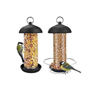 MIXXIDEA Bird Mini Feeders Hanging, Metal Mesh Peanut and Seed Feeder Set Perky Bird Feeder Kit for Outside Decoration Great for Attracting Wild Birds Garden Outdoor (Black-2 Pack)