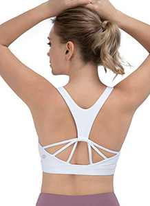 iKeep Sports Bra for Women, Yoga Bra with Removable Cups, Criss-Cross Back Padded Strappy Sports Bras White