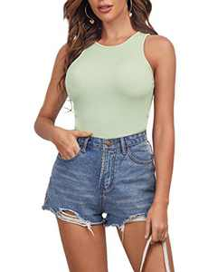 Romwe Women's Ribbed Knit Sleeveless Workout Crop Tank Tops Shirts Mint Green M
