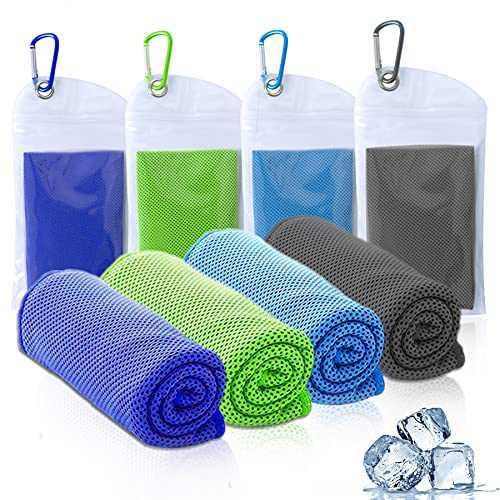 "Amgico Cooling Towel (40""x12""), Instant Cooling Relief Ice Towel Microfiber Towels for Sports Gym Fitness Hiking Yoga Jogging Running & Outdoor Activities 4 Packs"