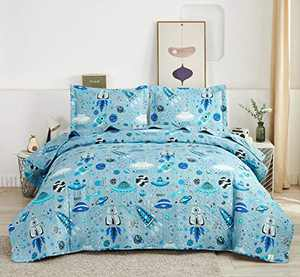 3 Piece Kid's Galaxy Outer Space Adventure Quilted Bedspread Set Twin Size with Pillowcases,Planets in The Blue Universe Printed 3D Quilt Coverlet Bedding Sets for Spring and Summer (Twin,Blue)
